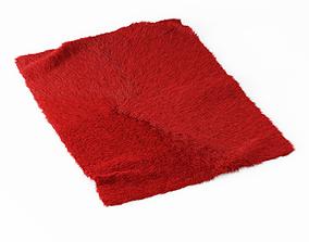 3D Red Angora Fur Rug