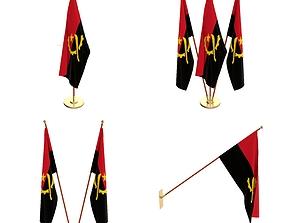 Angola Flag Pack 3D model