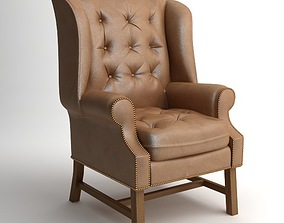 3D Traditional Wing Back Armchair