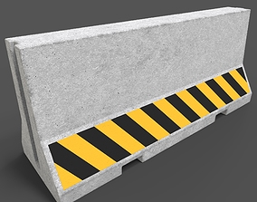 lowpoly Concrete Barrier 3D model game-ready