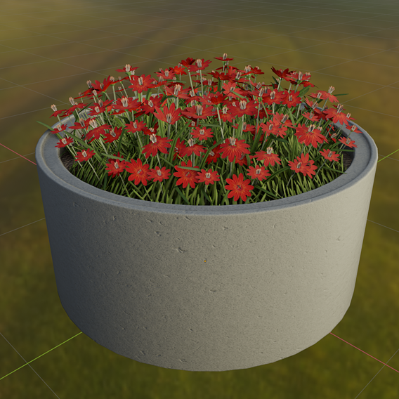 Concrete 1500mm with Red Flowers Version 2 (Blender-2.91 Eevee)