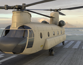 CH-47 chinhook military transport helicopter 3D model