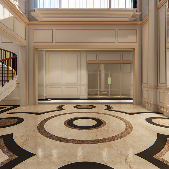 FLOOR PATTERN DESIGN OF INTERIOR LOBBY OF STAIR CASE