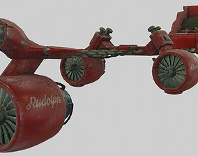 3D asset Low Poly Dieselpunk Santa Sleigh With PBR