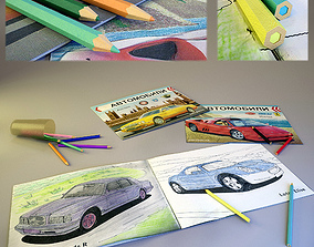 Coloring book and pencils 3D
