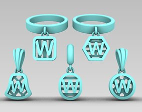 3D print model Initial letter charm with 5
