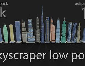 skyscraper district 3D asset VR / AR ready