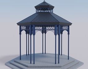 Metal garden gazebo pavilion or kiosk PBR 3D