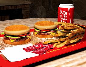 Burger Meal Model fried