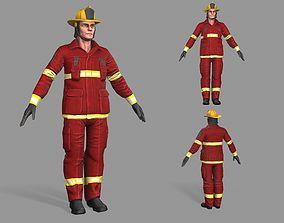 3D asset low-poly Fireman
