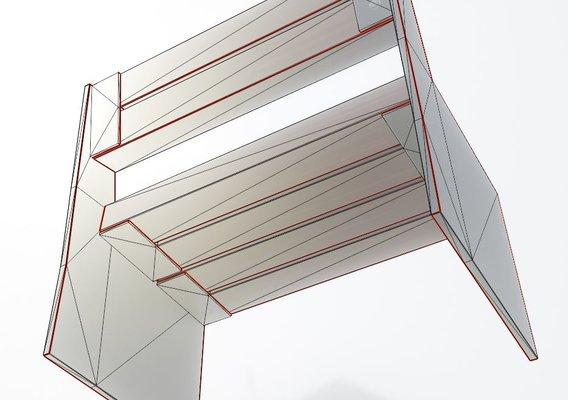 Low-Poly Park Bench 8 Teak Gray Metal Frame 1