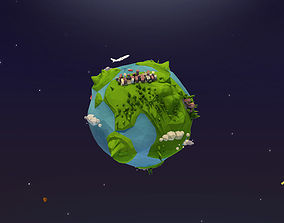 Cartoon Low Poly Earth Planet 3D model
