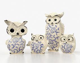 Ceramics Owls Family 3D asset game-ready
