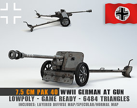 Low Poly 7 5 cm Panzerabwehrkanone 40 Anti Tank 3D model