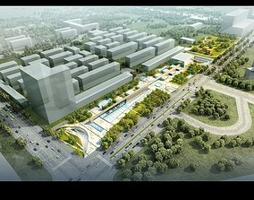 3D model Modern street shopping center 007