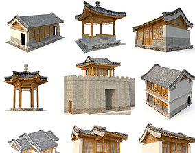 3D Chinese ancient architecture nine in one realtime