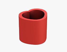 Pencil cup heart 3D printable model