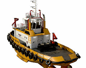 3D model game-ready Tugboat lowpoly