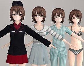 T pose nonrigged model of Maho Nishizumi anime girl 3D