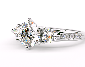 3D print model Round Cut 3-Stone Engagement Wedding Ring 1