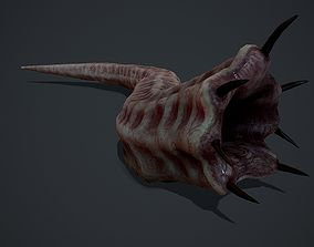 3D asset Creepy Flesh worm Animated PBR