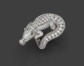 Crocodile ring 3D print model diamonds
