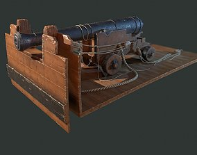 Ship cannon 3D model low-poly