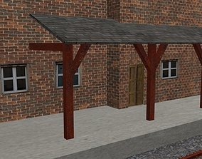 3D asset simple low poly train station
