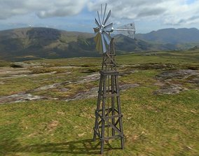 3D asset Old windmill