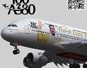 Airbus A380 100Th Year of Zayed 2018 livery 3D asset