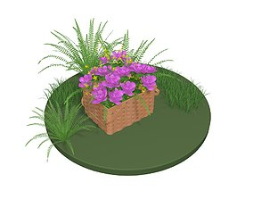 3D nature Flowers in a basket