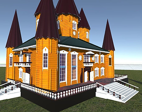 Russian wooden house in Siberian village -1 Terem for 3D