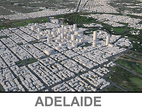 Adelaide city in Australia 3D model low-poly