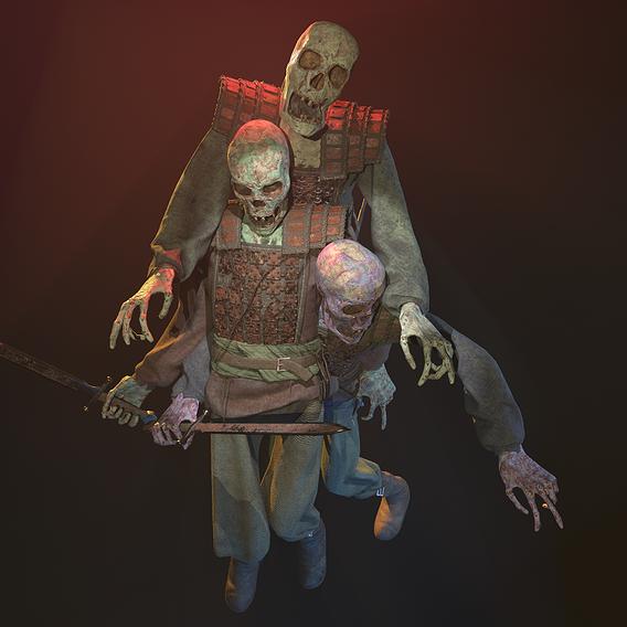 Game ready Medieval skeleton warrior