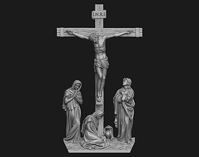 Crucifixion Scene Bas-Relief 3D printable model medallion