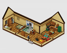 3D model low-poly Voxel Old House with Furniture