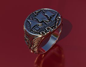 ring with ship and kraken 3D printable model romance