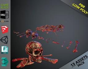 Skulls1 Meat Bones 3D asset