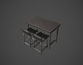 Dark Metal Breakfast Bar and Chair 3D asset