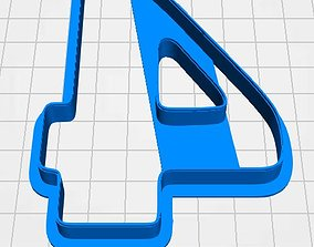 Number 4 cookie cutter for professional 3D print model
