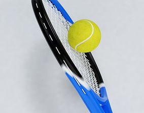 Tennis Racket and Ball 01 3D model
