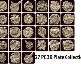 27 pcs wild plate set 3d stl models for artcam and aspire