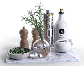 Trays with Bowls Rosemary Olive Oil Salt and Pepper 3D