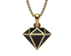 platinum Diamond pendant with enamel 3D print model