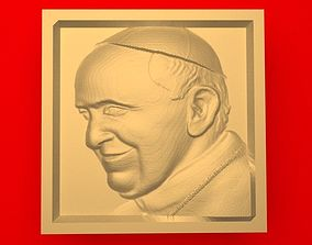 3D printable model low relief Pope Francis cathedral