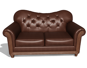 3D Stylish Two Seater Leather Sofa