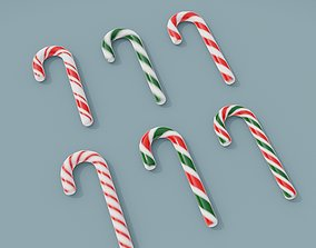3D Asset - Christmas hook candy set low-poly