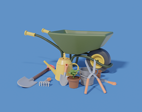 Gardening Tools with wheelbarrow shovel and more 3D model