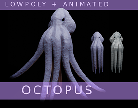 Lowpoly Animated Octopus 3D asset VR / AR ready