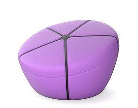 Purple Plastic Stool Chair 3D model